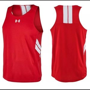 Under Armour Mens Red White Singlet Tank Top Black